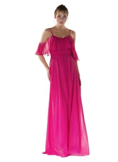 Carmen Puantiye Fuşya Askılı Uzun Abiye Elbise Fuşya